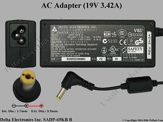 Delta Electronics SADP-65KB D AC Adapter- Laptop
