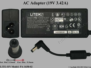 TOSHIBA PA-1650-02 AC Adapter- Laptop