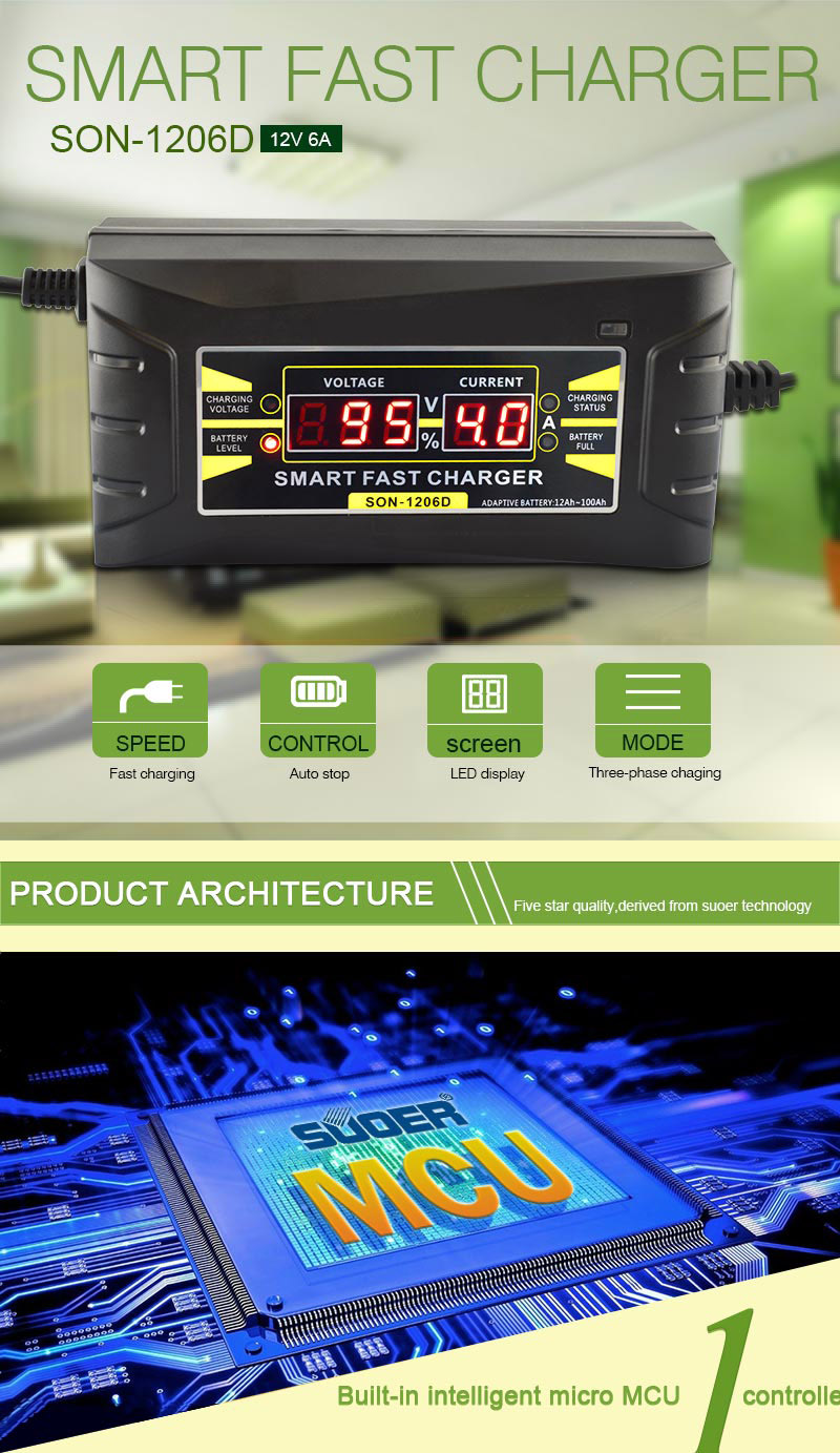 Automatic Car Smart Battery Charger 110V to 220V 6A 12V